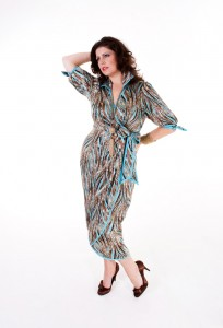 Madeleine-in-blue-brown-wrapover-dress